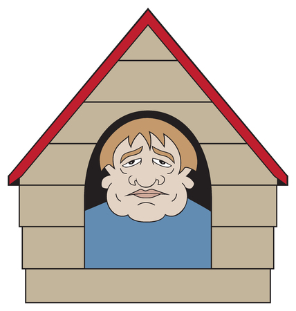 Unhappy cartoon man has found himself in the dog house