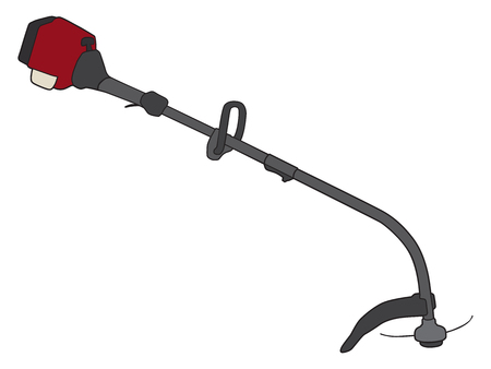 A gas powered weed whacker ready for use