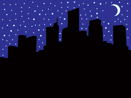 A city skyline at night during a power outage with room for copy.