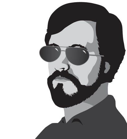 A bearded man wearing sunglasses is looking toward the viewer