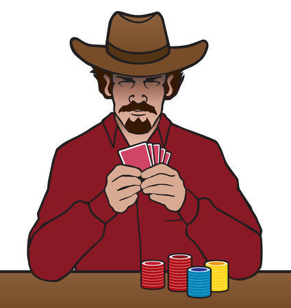 An old west gambler is studying his cards and his opponent