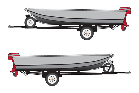 An aluminum boat with a red outboard motor is strapped to a trailer
