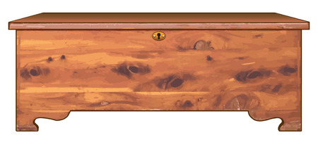 An antique cedar chest with a locking lid