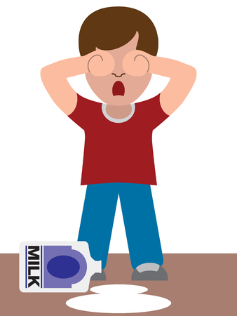 A young child is crying because he has just spilled the milk Illustration