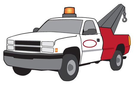 A cartoon tow truck with flashing light and large hook.