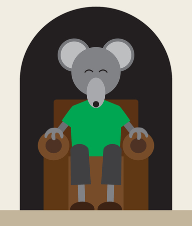 A flat vector mouse is relaxing in an easy chair in his hole in the wall Çizim