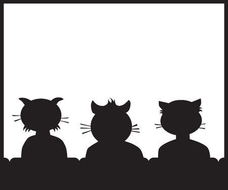 Three cartoon cat buddies in a theater getting ready to watch a movie Illustration