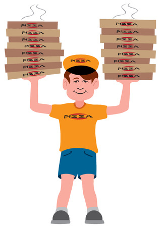 A young pizza delivery guy has arrived with two large stacks of pizzas
