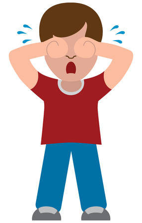 A flat vector cartoon boy is unhappy and crying Illustration