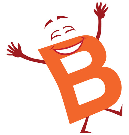 A happy cartoon letter B is enjoying life