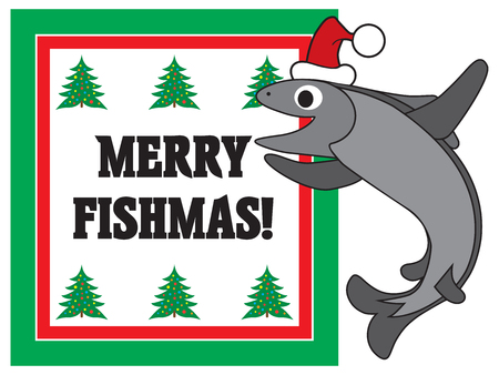 A cartoon fish in a Christmas cap is excited about the season