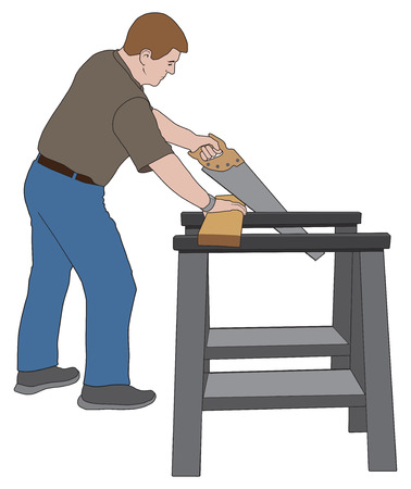 A man is using sawhorses to cut a board for a home improvement project.