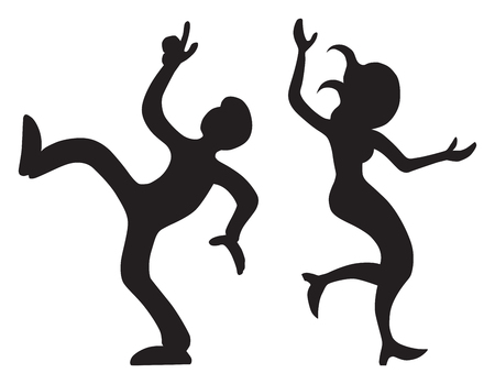 A young couple in silhouette are vigorously dancing the night away