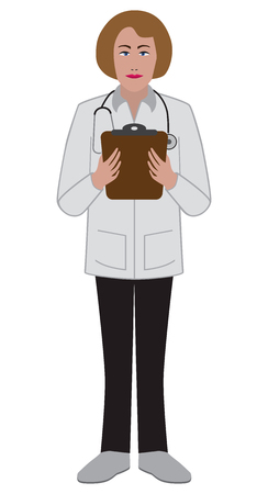 A flat vector female doctor is holding a clipboard
