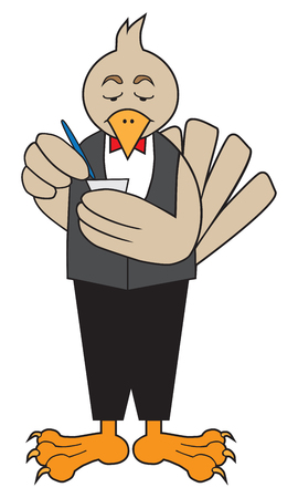 Cartoon bird waiter image illustration