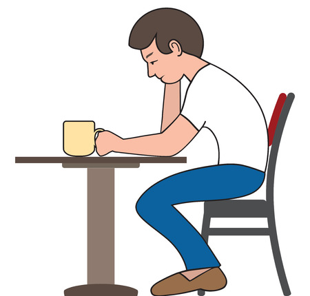 A young cartoon man is sitting at his breakfast table wearily drinking a cup of coffee.