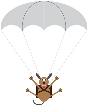 A happy cartoon dog is floating downward with the help of a parachute