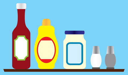 Several generic condiments resting on a wooden shelf.