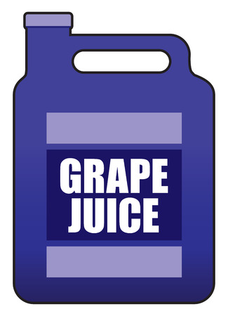 A plastic gallon jug of grape juice is ready to be consumed