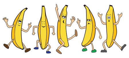 Five cartoon bananas are dancing Illustration