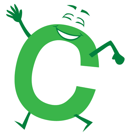 A happy, smiling cartoon letter C is out for a stroll Illustration