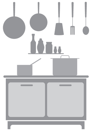 A commercial kitchen background in shades of gray