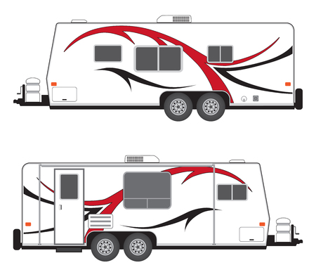 Side views of a generic camp trailer Stock Illustratie