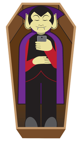 A cartoon vampire is lying in his coffin staring at his cell phone