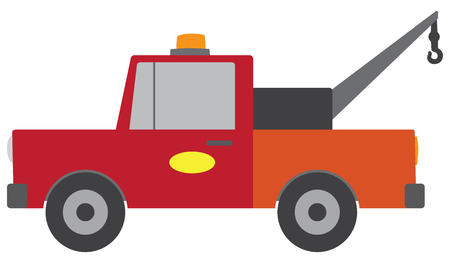 A flat vector cartoon tow truck is ready to serve