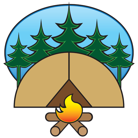 Stylized campsite with trees, tent and camp fire