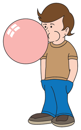A young boy is blowing a huge gum bubble