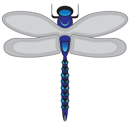 A stylized cartoon dragonfly is resting with his wings outspread 스톡 콘텐츠 - 105521749