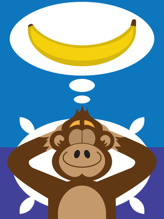 A flat vector cartoon monkey is dreaming of a banana