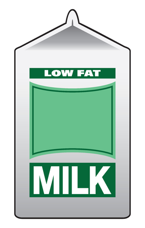 An unopened carton of low fat milk with a green label