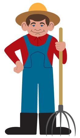 Flat vector smiling cartoon farmer is holding a pitchfork