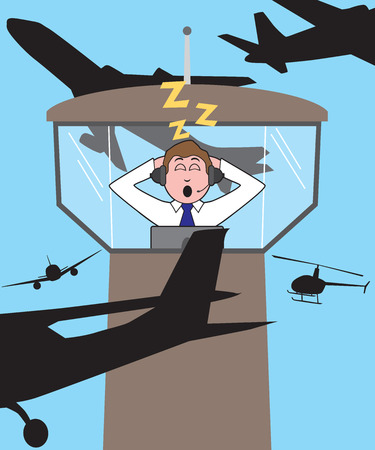 An overworked and exhausted air traffic controller has fallen asleep on the job Illustration