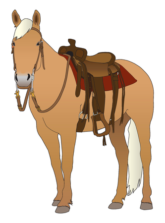 A palomino horse is all saddled up and ready to ride Illustration