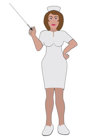 Une infirmière souriante avec une énorme seringue est prête à faire une injection Vecteurs