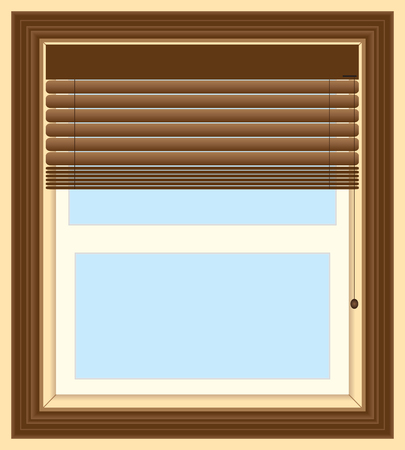 A house window with dark wooden blinds partially open Stock Illustratie