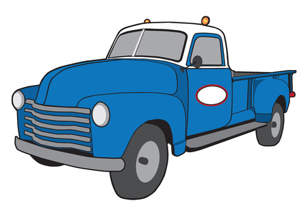 A generic cartoon retro service truck painted blue and white