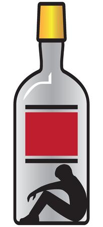 Una representación simbólica de alguien que tiene un problema grave con la bebida.