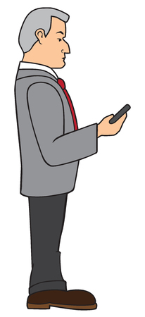 Profile view of a cartoon businessman using his mobile phone