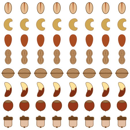 Eight rows of various stylized nuts