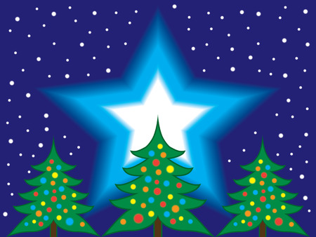 Christmas trees against a huge northern star in the night sky Illustration