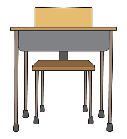Front view of an empty school desk with chair