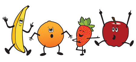 A dancing group of cartoon fruit including a banana, orange, strawberry and apple Illustration