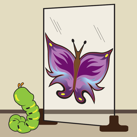 A young caterpillar is looking in a mirror and seeing himself as a colorful butterfly