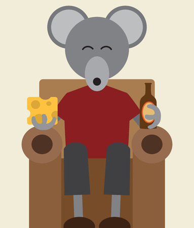 A flat vector mouse is sitting in his easy chair enjoying a snack of beer and cheese