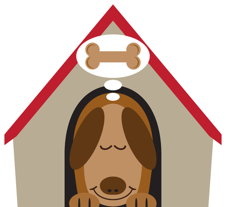 A flat vector cartoon dog is asleep in his dog house and dreaming of a treat Illustration