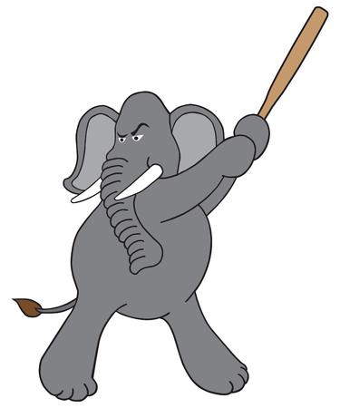 An intense cartoon elephant is getting ready to swing a bat Çizim